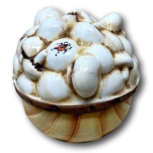 Vintage Mushroom & Ladybug Porcelain Box & Lid